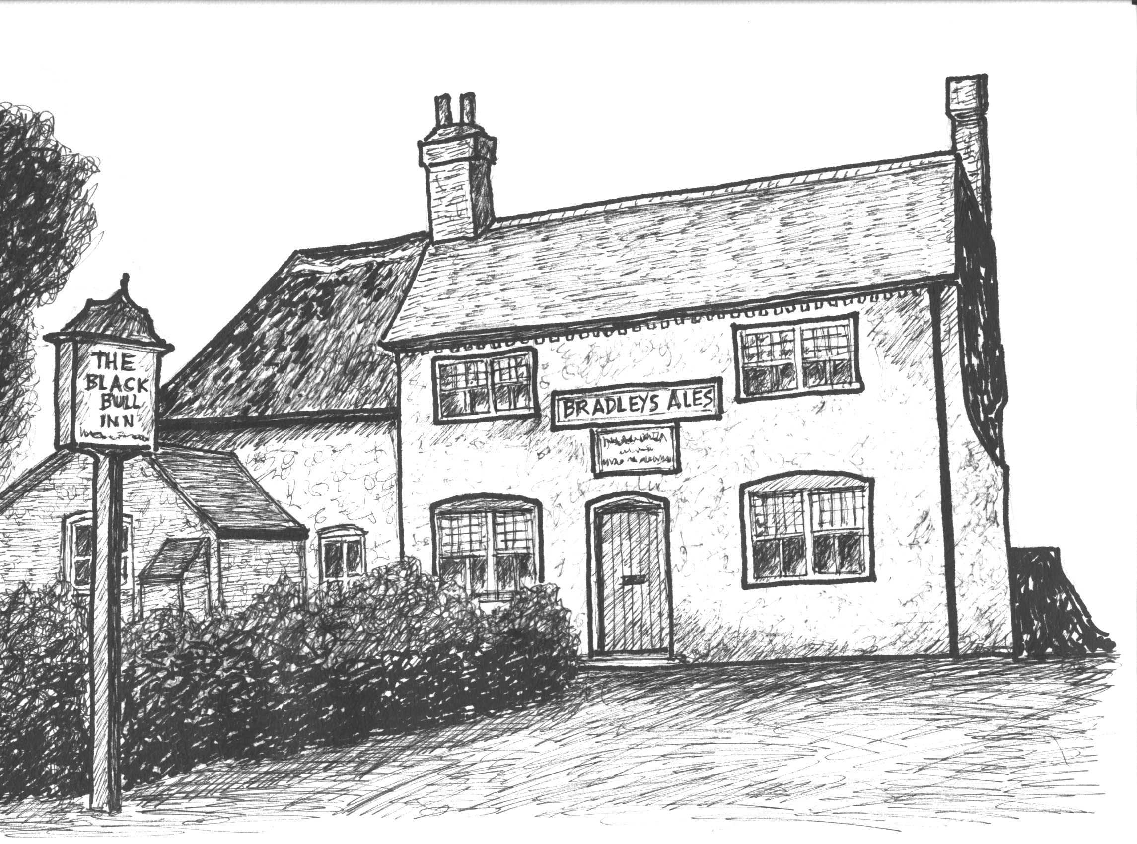 Illustration from A Brief History of Newthorpe by J M Lee: The Black Bull Inn, Newthorpe, Nottinghamshire